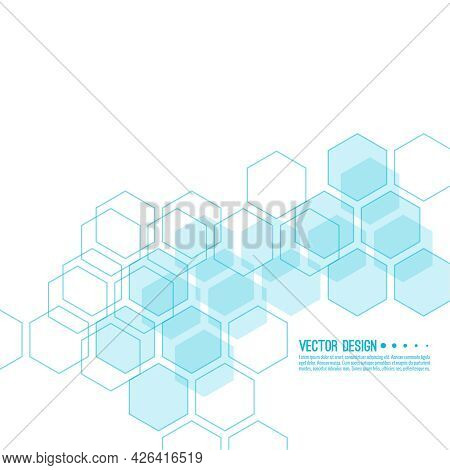 Abstract Background With Intersecting Geometric Hexagon Shapes. Vector Techno Illustration.