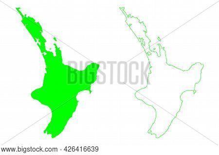 North Island (new Zealand) Map Vector Illustration, Scribble Sketch Te Ika-a-maui Map