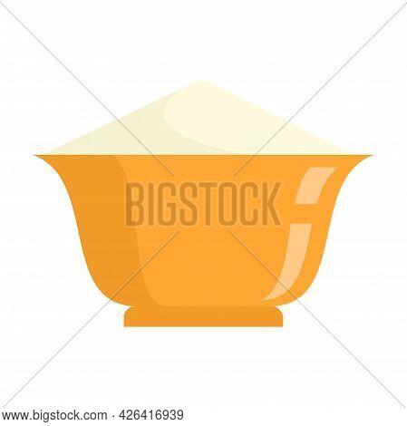 Flour Bowl Icon. Flat Illustration Of Flour Bowl Vector Icon Isolated On White Background