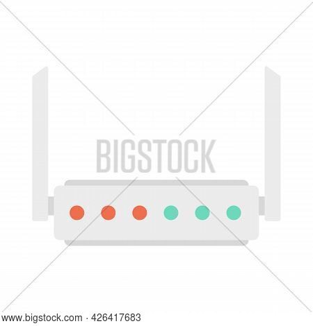 Broadband Router Icon. Flat Illustration Of Broadband Router Vector Icon Isolated On White Backgroun