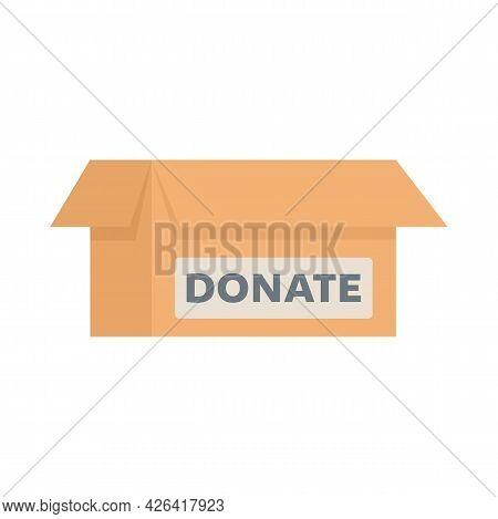 Donate Carton Box Icon. Flat Illustration Of Donate Carton Box Vector Icon Isolated On White Backgro