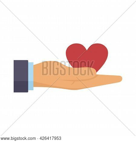 Donation Heart In Hand Icon. Flat Illustration Of Donation Heart In Hand Vector Icon Isolated On Whi