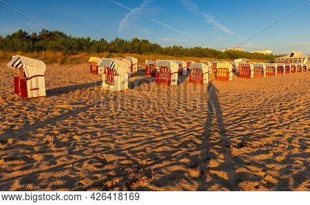 Swinoujscie. Beach Cabins On The Shores Of The Baltic Sea In The Early Morning.