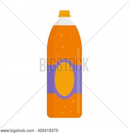 Orange Juice Soda Icon. Flat Illustration Of Orange Juice Soda Vector Icon Isolated On White Backgro