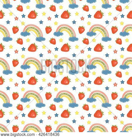 Seamless Pattern With Bright Rainbows, Strawberries And Stars. Bright Summer Print For Design, Texti