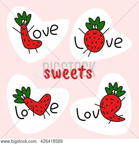 Love Text Stickers With One Strawberry Mascote Letter In Each Word. Design Elements For Love Items C