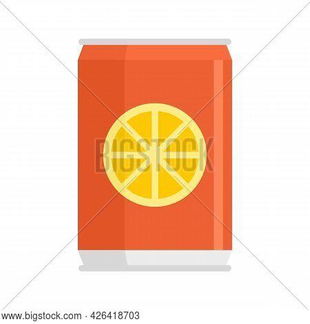 Healthy Orange Soda Icon. Flat Illustration Of Healthy Orange Soda Vector Icon Isolated On White Bac