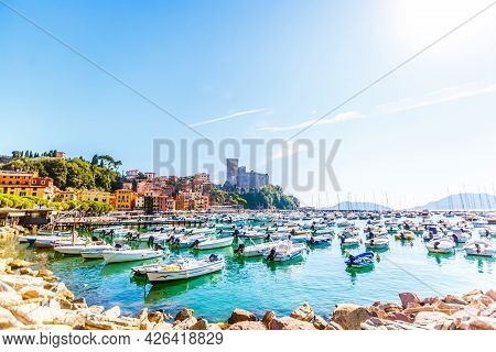 Gulf With Many Yachts And Boats Near Beach O Of Italy