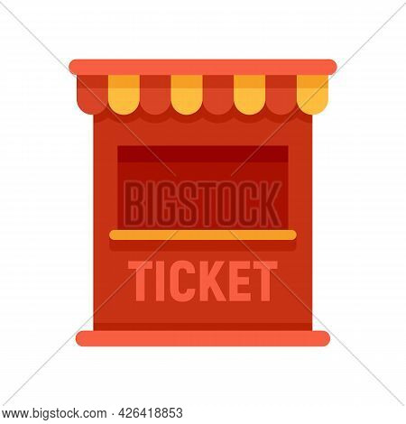 Ticket Circus Box Icon. Flat Illustration Of Ticket Circus Box Vector Icon Isolated On White Backgro