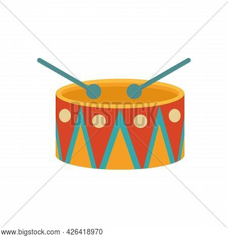 Carnival Drum Icon. Flat Illustration Of Carnival Drum Vector Icon Isolated On White Background