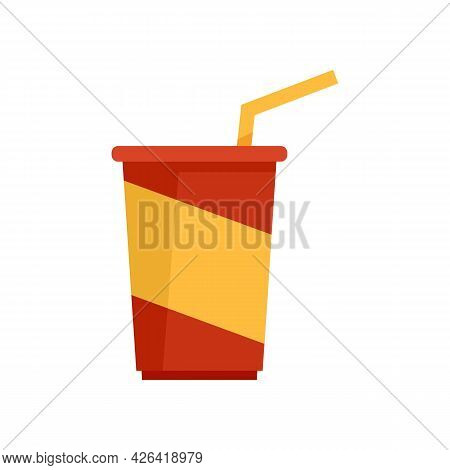 Soda Cup Icon. Flat Illustration Of Soda Cup Vector Icon Isolated On White Background