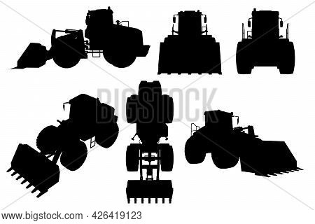 Set With Silhouettes Of A Bulldozer In Various Positions Isolated On A White Background. Vector Illu