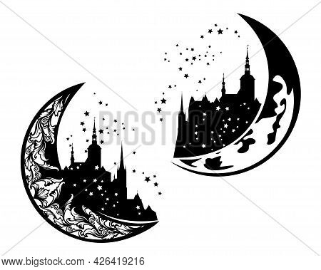 Fairy Tale Medieval Castle On A Crescent Moon - Night Time Fantasy Architecture Black And White Vect