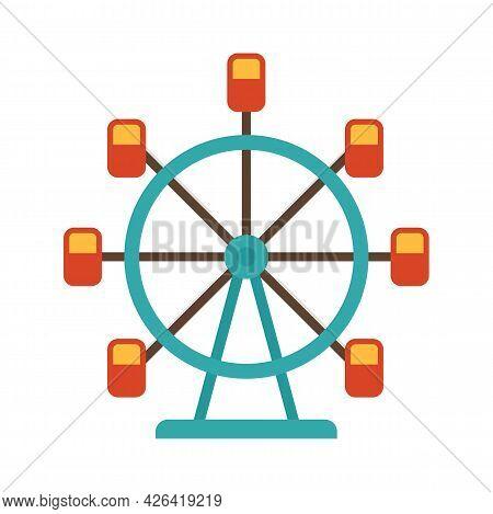 Ferris Wheel Icon. Flat Illustration Of Ferris Wheel Vector Icon Isolated On White Background