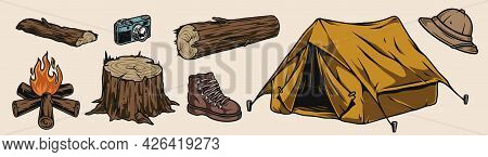 Camping Colorful Vintage Elements Concept With Tourist Tent Campfire Wooden Stump Logs Retro Camera