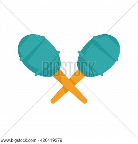 Circus Maracas Icon. Flat Illustration Of Circus Maracas Vector Icon Isolated On White Background