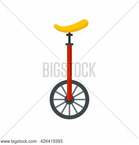 Unicycle Circus Icon. Flat Illustration Of Unicycle Circus Vector Icon Isolated On White Background
