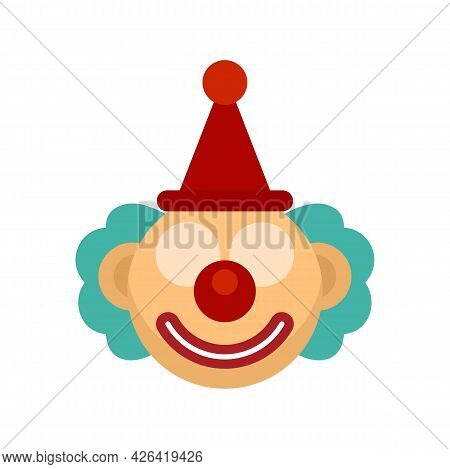 Circus Clown Icon. Flat Illustration Of Circus Clown Vector Icon Isolated On White Background
