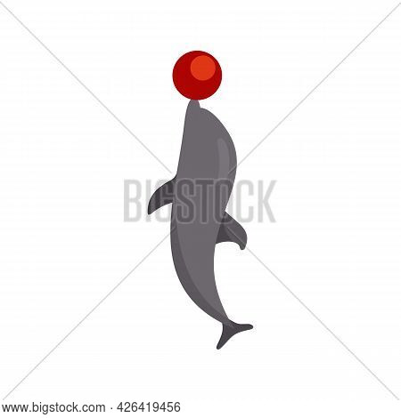 Dolphin With Ball Icon. Flat Illustration Of Dolphin With Ball Vector Icon Isolated On White Backgro