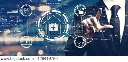 Telehealth Theme With A Man On Blurred City Background