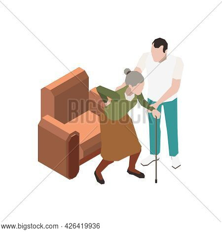 Nursing Home Icon With Character Helping Senior Woman With Walking Cane 3d Isometric Vector Illustra