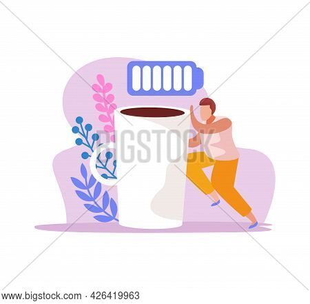 Caffeine Stimulating Effect Flat Icon With Male Character Cup Of Coffee And Full Battery Vector Illu