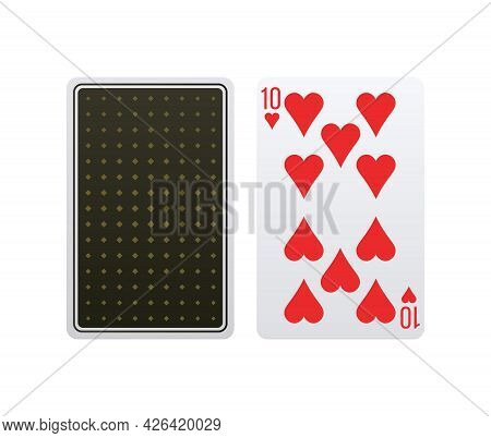 Realistic Ten Of Hearts Front And Back Isolated Vector Illustration