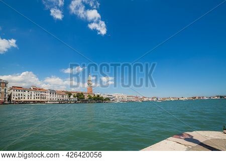 Venice, Italy - June 15, 2016 Sea View On The Riva Degli Schiavoni And Campanile Of San Marco From P