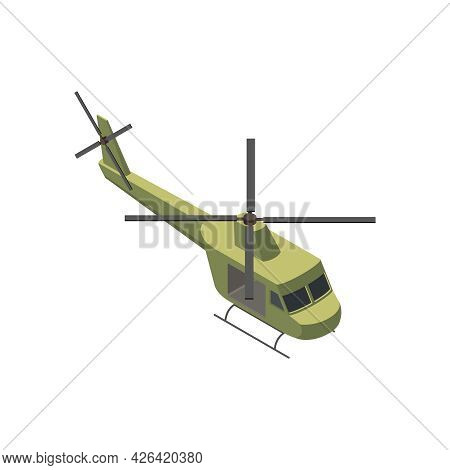 Military Air Forces Isometric Icon With Bell Uh1 Iroquois Helicopter 3d Vector Illustration