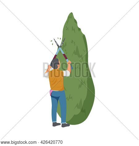 Gardening Flat Icon With Man Trimming Green Tree With Hedge Clippers Vector Illustration