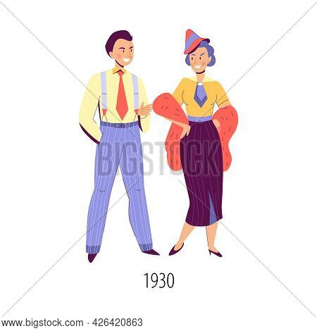 Flat Characters Of Man And Woman Dressed In Clothing In Fashion Of Thirties Isolated Vector Illustra