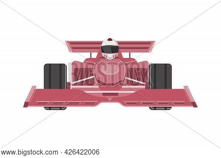 Flat Icon With Racer In Red Racing Car Front View Vector Illustration