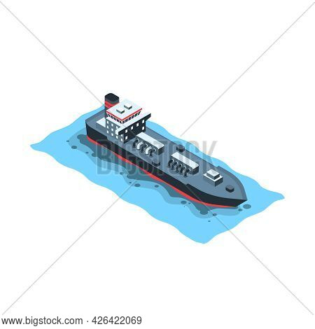 Water Pollution Isometric Icon With Tanker Causing Oil Spill 3d Vector Illustration