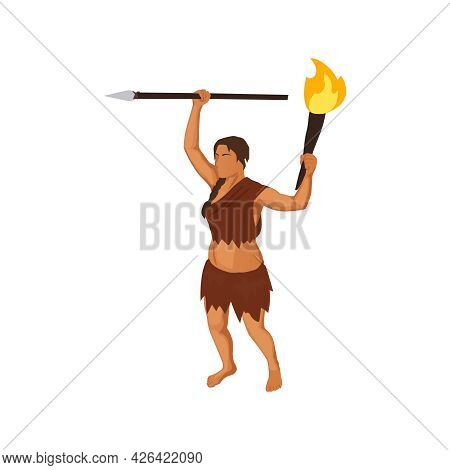 Female Character Of Primitive Woman Holding Torch And Spear 3d Isometric Vector Illustration