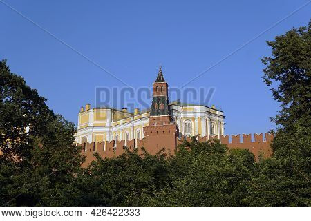 Moscow Russia - July 2021: The Moscow Kremlin Is A Popular Tourist Destination In Moscow. One Of The
