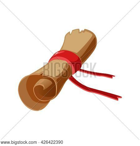 Ancient Parchment Scroll With Red Ribbon Cartoon Vector Illustration