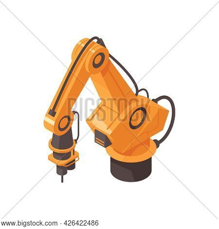 Automated Factory Machinery In Orange Color Isometric Icon Vector Illustration