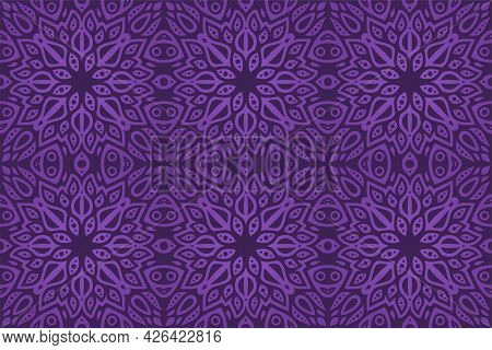 Beautiful Vector Illustration With Colorful Violet Eastern Tile Seamless Pattern On The Dark Backgro