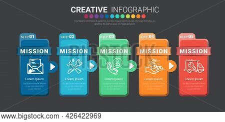 Timeline Infographic Template With 5 Step, Presentation Business Can Be Used For Workflow Layout, St