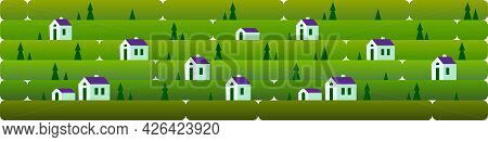 Banner A Evening Landscape With Small Houses, Against A Background Of Grass, Nature, Hills. Vector I