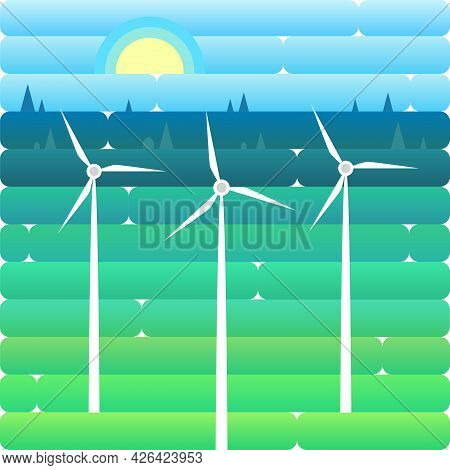 Wind Turbine Alternative Energy Resource Nature Background Banner Flat Vector Illustrationwind Turbi