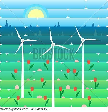 Wind Turbine Alternative Energy. Windmill Resource Nature Background Banner Flat Vector Illustration