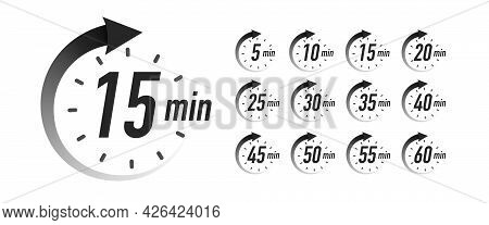 Timer Icons Vector Set Black Color. Stopwatch Isolated On White Background. Time From 5 To 60 Minute