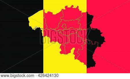 Belgium National Flag With Administrative Regions Map Border Inside, Detailed Multicolored Vector Il