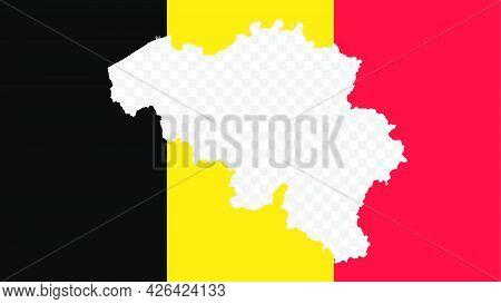 Belgium National Flag With Transparent Map Empty Border Inside, Detailed Multicolored Vector Illustr
