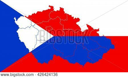 Czech Republic National Flag With Administrative Regions Map Border Inside, Detailed Multicolored Ve