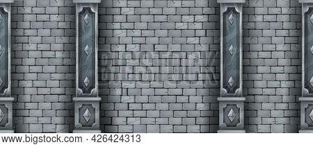 Brick Wall Seamless Texture, Ancient Castle Stone Background, Marble Pillars, Vector Medieval Masonr