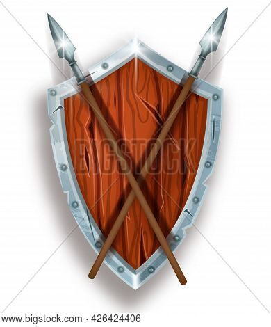 Wooden Game Shield Vector Icon, Medieval Fantasy Knight Armor, Iron Spear Isolated On White. Ancient