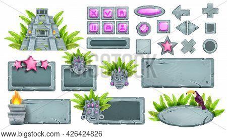 Stone Ui Game Buttons Vector Collection, Rock Sign Board Set, Tropical Maya Pyramid, Tiki Mask, Touc