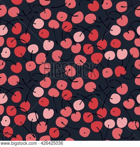 Seamless Repeating Pattern With Hand Drawn Cherries On Dark Background